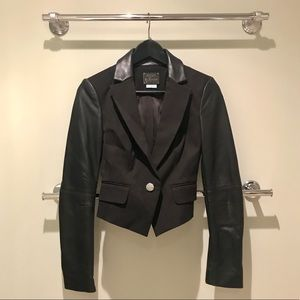 🏷Final Price/Chance. Leather Collar/Sleeve Jacket